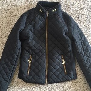 Black Quilted Equestrian Jacket